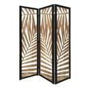 Benjara BM228616 3 Panel Wooden Screen with Laser Cut Tropical Leaf Design, Brown and Black - BM228616