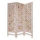 Benjara BM228620 3 Panel Wooden Screen with Interspersed Square Pattern, Cream - BM228620