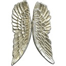 Benjara BM228621 Wooden Frame Feather Shape Shadow Box Art, Champagne Silver - BM228621