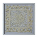 Benjara BM228631 Wooden Shadow Box with Abstract Weaving Pattern, Gray and Cream - BM228631