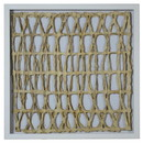 Benjara BM228634 Wooden Shadow Box with Abstract Interweaved Pattern, Gray and Cream - BM228634