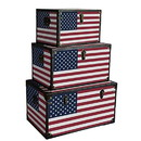 Benjara BM228638 Wooden Trunks with US Flag Print and Metal Corner Accent, Set of 3, Multicolor - BM228638
