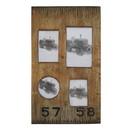Benjara BM228641 Rectangular Distressed Wooden Frame with 4 Photo Slots, Brown - BM228641