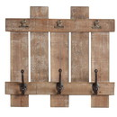 Benjara BM229479 Wooden Wall Plank with 3 Metal Hooks and Clips, Brown