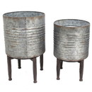 Benjara BM229486 Round Metal Planter with Stand, Set of 2, Bronze and Gray