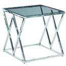 Benjara BM229488 Diamond Shaped Metal Accent Table with Glass Top, Silver