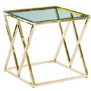 Benjara BM229491 Diamond Shaped Metal Accent Table with Glass Top, Gold