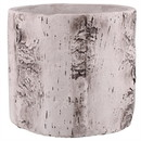 Benjara BM229691 Faux Birch Cement Framed Cylinder Planter, Large, White