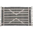 Benjara BM229766 2 x 3 Feet Cotton Rug with Centrepoint Stripe, Gray and White
