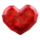 Benjara BM229882 Faceted Soapstone Heart Accent Decor, Large, Red