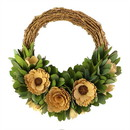 Benjara BM229951 Round Willow Wreath with Flowers and Leaves, Small, Brown