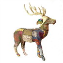 Benjara BM229976 Fabric Standing Stag Accent Decor with Kantha Stitching, Brown