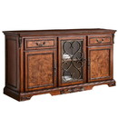 Benjara BM229995 Traditional 3 Cabinet Wooden Buffet with 2 Drawers and Carvings, Brown