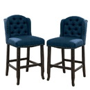 Benjara BM230027 Nailhead Trim Fabric Bar Chair with Button Tufted Wingback, Set of 2, Blue
