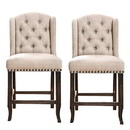 Benjara BM230028 Fabric Bar Height Chair with Button Tufted Wingback, Set of 2, Beige