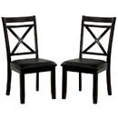 Benjara BM230079 Open X Back Leatherette Seat Wood Chair, Set of 2, Dark Brown