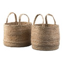 Benjara BM231422 Interwoven Braided Design Jute Basket with Curved Handles, Set of 2, Brown