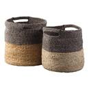 Benjara BM231423 Dual Tone Jute Basket with Braided Design, Set of 2, Brown