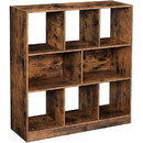 Benjara BM231432 6 Open Shelves Wooden Bookcase with 2 Compartments, Rustic Brown