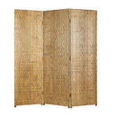 Benjara BM26484 3 Panel Foldable Room Divider with Patterned Wood Panelling, Gold