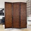 Benjara BM26486 Dual Tone 3 Panel Wooden Foldable Room Divider with Wavy Design, Brown