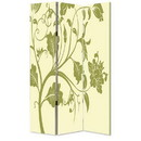 Benjara BM26494 3 Panel Room Divider with Stems and Flower Pattern, Cream and Green