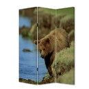 Benjara BM26506 3 Panel Foldable Wooden Screen with Bear Print, Blue and Brown
