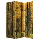 Benjara BM26511 Foldable Canvas Screen with 3 Panel Autumn Forest Print, Multicolor