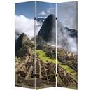 Benjara BM26527 3 Panel Foldable Canvas Screen with Machu Picchu Print, Multicolor