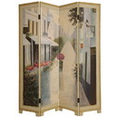 Benjara BM26652 Wooden Screen with Artwork of Hand Painted Paris Promenade, Multicolor