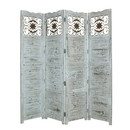 Benjara BM26673 Wooden 4 Panel Screen with Textured Panels and Scrolled Details, White