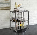 Benzara BM30521 Contemporary Style Metal Bar Cart With Tempered Glass Shelves, Gunmetal Gray Black