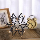 Benjara BM47916 Intersecting Iron Wire Star Decor with Accented Joints, Black and Gold