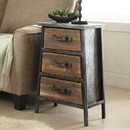 Benjara BM49344 3 Drawer Wooden Storage Chest with Canted Metal Frame, Brown and Dark Gray