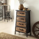Benjara BM49345 4 Drawer Wooden Storage Chest with Canted Metal Frame, Brown and Dark Gray - BM49345