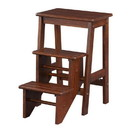 Benjara BM61440 3 Step Wooden Frame Stool with Safety Latch, Brown