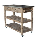 Benjara BM61463 2 Drawers Wooden Frame Kitchen Cart with Metal Top and Casters, Gray