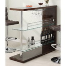 Benzara BM68941 Modish Rectangular Bar Unit with 2 Shelves and Wine Holder, Brown