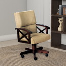 Benzara BM68943 Upholstered Arm Game Chair , Brown
