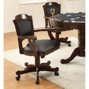 Benzara BM68982 Arm Game Chair with Casters and Fabric Seat and Back, Brown