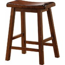 Benzara BM69427 Wooden Casual Counter Height Stool, Chestnut Brown, Set of 2