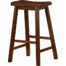 Benzara BM69428 Wooden Casual Bar Height Stool, Chestnut Brown, Set of 2