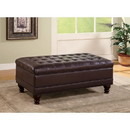 Benzara BM69633 Traditional Tufted Ottoman, Dark Brown