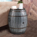 Benjara BM82436 Drum Shape Metal Wine Storage Table with Removable Lid, Rustic Brown and Gray