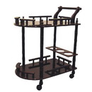 Benjara BM95303 Casters Supported 2 Tier Wooden Wine Table with Turned legs, Cherry Brown
