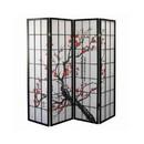 Benjara BM96076 Plum Blossom Print Wood and Paper 4 Panel Room Divider, Red and Black