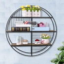 Benjara C554-FHB007 3 Tier Wood and Round Metal Floating Wall Shelf with Slatted Details, Brown and Black