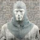 Benzara I305-HGM012 Metal Chain Mail Coif Medieval Armor, Silver