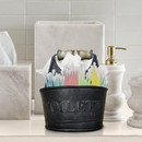 Benzara I305-HGM015 Iron Toilet Caddy With Wooden Handles And Toilette Front, Dark Gray