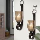 Benjara I457-AMC0025 Scroll Design Metal Frame Vertical Wall Mounted Candle Holder Sconce, Set of 2, Bronze